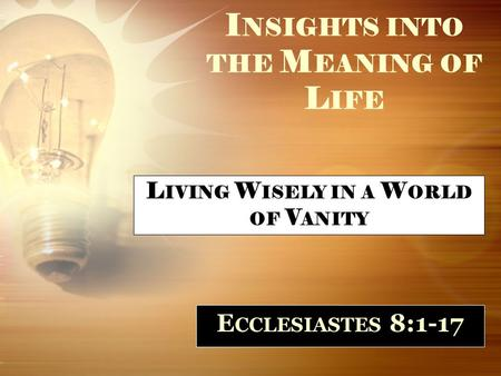 I NSIGHTS INTO THE M EANING OF L IFE E CCLESIASTES 8:1-17 L IVING W ISELY IN A W ORLD OF V ANITY.