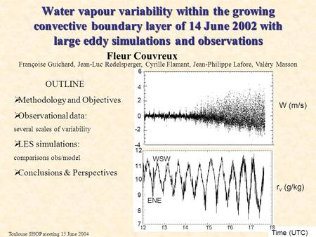 Toulouse IHOP meeting 15 June 2004 Water vapour variability within the growing convective boundary layer of 14 June 2002 with large eddy simulations and.