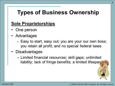 © 2009 The McGraw-Hill Companies, Inc. All rights reserved. 4 McGraw-Hill Sole Proprietorships One person Advantages –Easy to start, easy out; you are.