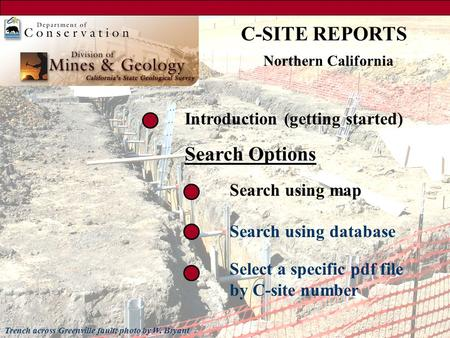 Search using map Search using database Select a specific pdf file by C-site number Introduction (getting started) Search Options C-SITE REPORTS Trench.