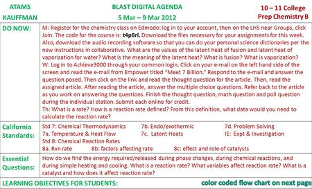 ATAMSBLAST DIGITAL AGENDA 10 – 11 College Prep Chemistry B KAUFFMAN5 Mar – 9 Mar 2012 DO NOW: M: Register for the chemistry class on Edmodo: log in to.