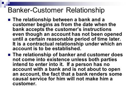 types of relationship between bank and customers