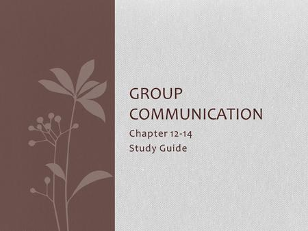 Chapter 12-14 Study Guide GROUP COMMUNICATION. Chapter 12 1. What are the 4 steps in the problem solving process? Describe and understand the problem.