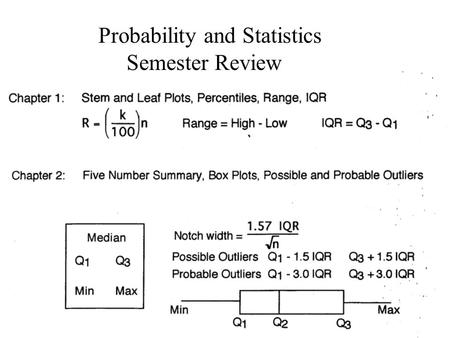 Probability and Statistics Semester Review. -