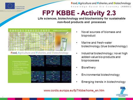 1 FP7 KBBE - Activity 2.3 FP7 KBBE - Activity 2.3 Life sciences, biotechnology and biochemistry for sustainable non-food products and processes Novel sources.