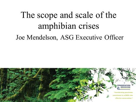 The scope and scale of the amphibian crises Joe Mendelson, ASG Executive Officer.