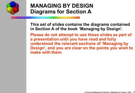 © Tesseract Management Systems / Managing by Design / 2002 - 1 MANAGING BY DESIGN Diagrams for Section A This set of slides contains the diagrams contained.