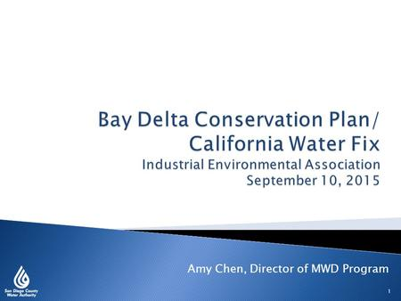 1 Amy Chen, Director of MWD Program.  San Diego County Water Authority background  Reliability through diversification  Bay-Delta issues 2.
