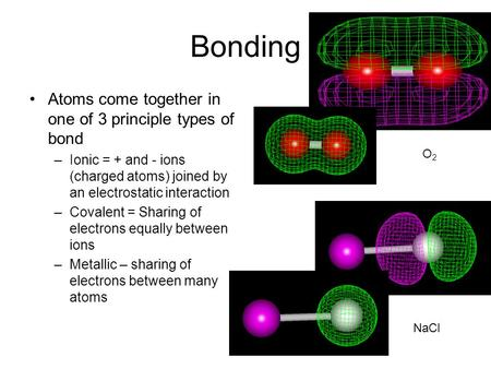 <strong>Bonding</strong> Atoms come together in one of 3 principle types of <strong>bond</strong> –<strong>Ionic</strong> = + <strong>and</strong> - ions (charged atoms) joined by an electrostatic interaction –<strong>Covalent</strong>.