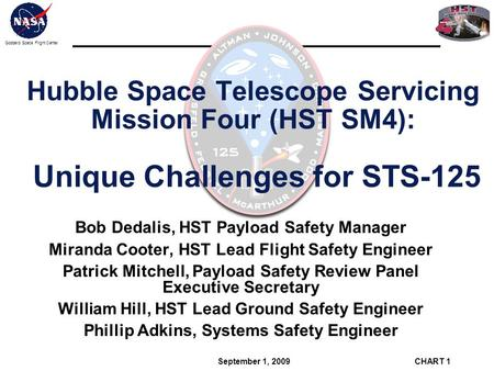 Bob Dedalis, HST Payload Safety Manager