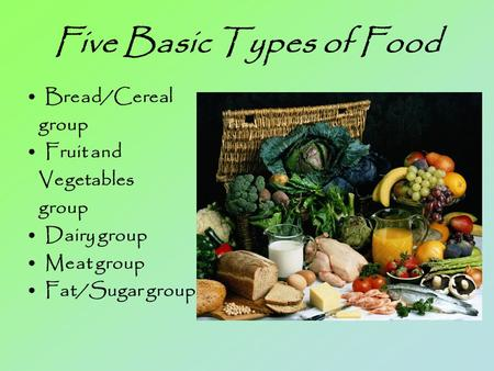 Five Basic Types of Food Bread/Cereal group Fruit and Vegetables group Dairy group Meat group Fat/Sugar group.