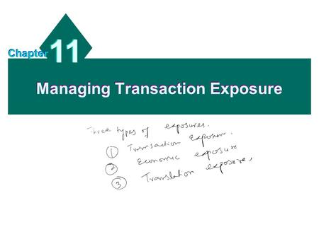 Managing Transaction Exposure 11 Chapter. 11 - 2 Chapter Objectives To identify the commonly used techniques for hedging transaction exposure; To show.