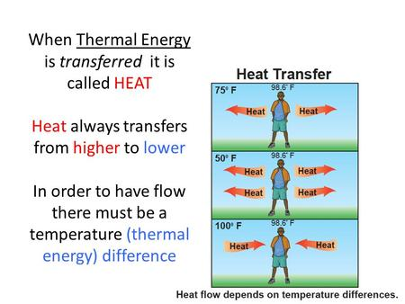 When Thermal Energy is transferred it is called HEAT Heat always transfers from higher to lower In order to have flow there must be a temperature (thermal.