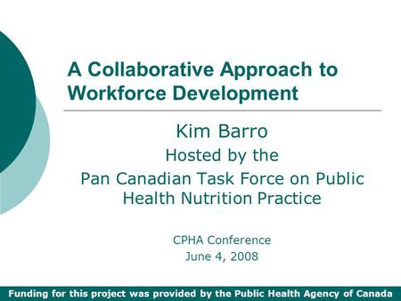 A Collaborative Approach to Workforce Development Kim Barro Hosted by the Pan Canadian Task Force on Public Health Nutrition Practice CPHA Conference June.