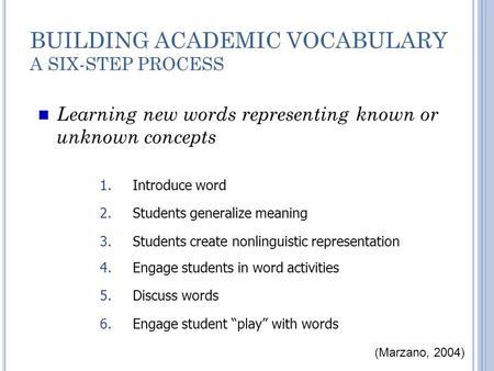 BUILDING ACADEMIC VOCABULARY A SIX-STEP PROCESS Learning new words representing known or unknown concepts 4.Engage students in word activities 5.Discuss.