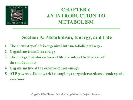 CHAPTER 6 AN INTRODUCTION TO METABOLISM Copyright © 2002 Pearson Education, Inc., publishing as Benjamin Cummings Section A: Metabolism, Energy, and Life.