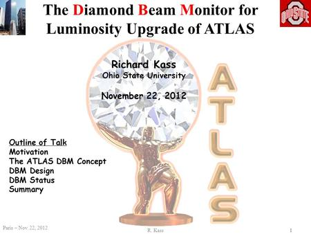 R. Kass Paris – Nov. 22, 2012 11 Richard Kass Ohio State University November 22, 2012 The Diamond Beam Monitor for Luminosity Upgrade of ATLAS Outline.