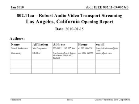 Doc.: IEEE 802.11-09/0053r0 Submission 802.11aa – Robust Audio Video Transport Streaming Los Angeles, California Opening Report Date: 2010-01-15 Authors: