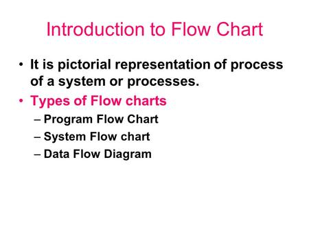 Introduction to Flow Chart It is pictorial representation of process of a system or processes. Types of Flow charts –Program Flow Chart –System Flow chart.