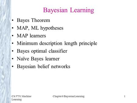 Chapter 6 Bayesian Learning