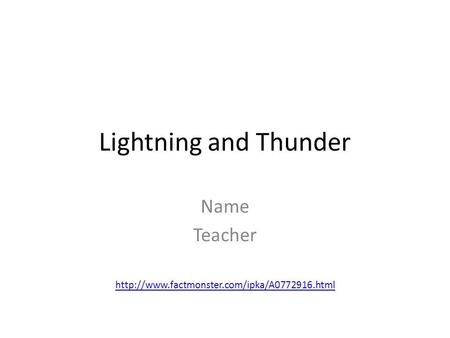 Lightning and Thunder Name Teacher