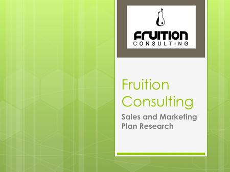 Fruition Consulting Sales and Marketing Plan Research.
