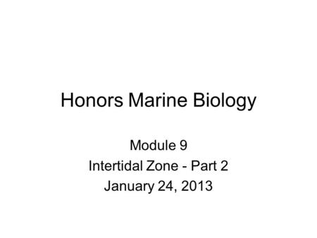 Honors Marine Biology Module 9 Intertidal Zone - Part 2 January 24, 2013.