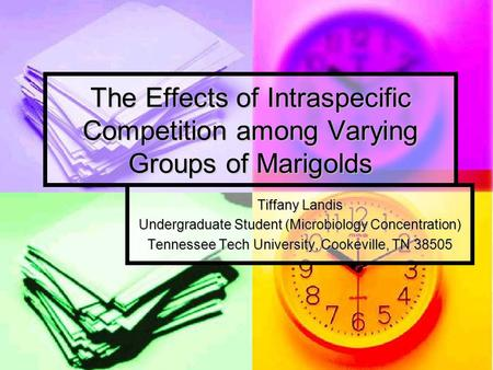The Effects of Intraspecific Competition among Varying Groups of Marigolds Tiffany Landis Undergraduate Student (Microbiology Concentration) Tennessee.