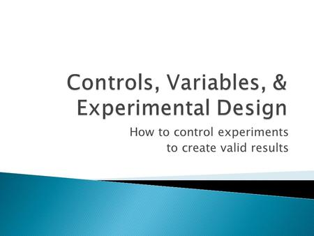 How to control experiments to create valid results.