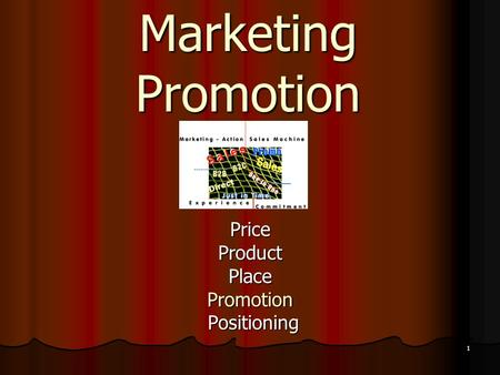 1 Marketing Promotion PriceProductPlacePromotion Positioning Positioning.