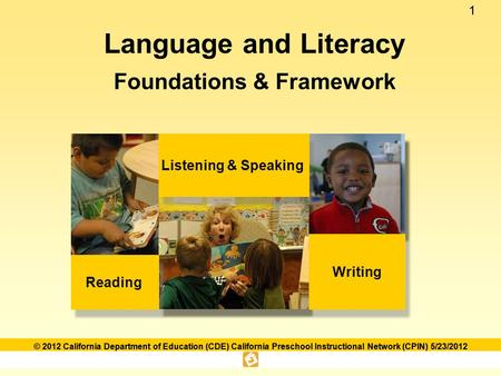 11 © 2012 California Department of Education (CDE) California Preschool Instructional Network (CPIN) 5/23/2012 Language and Literacy Foundations & Framework.