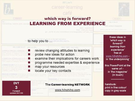 The Career-learning NETWORK www.hihohiho.com to help you to … review changing attitudes to learning probe new ideas for action examine their implications.