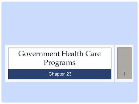 1 Government Health Care Programs Chapter 23. 2 Chapter Outline MEDICAID MEDICARE CHILD HEALTH INSURANCE PROGRAM PATIENT PROTECTION AND AFFORDABLE CARE.