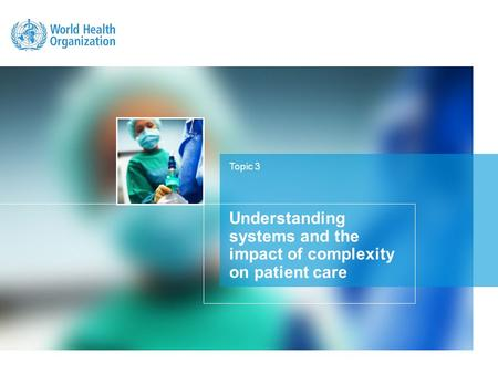 Topic 3 Understanding systems and the impact of complexity on patient care.