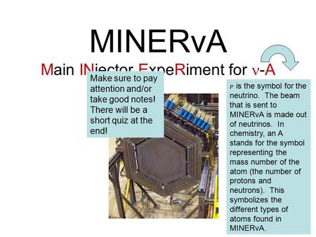 MINERvA Main INjector ExpeRiment for -A is the symbol for the neutrino. The beam that is sent to MINERvA is made out of neutrinos. In chemistry, an A stands.
