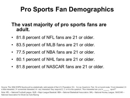 Pro Sports Fan Demographics The vast majority of pro sports fans are adult. 81.8 percent of NFL fans are 21 or older. 83.5 percent of MLB fans are 21 or.