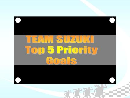 Top 5 Priority Goals 1.INCREASE SUZUKI LIPA & SHAW VEHICLE SALES OBJECTIVE : To increase net income output.  SUZUKI LIPA : Ave. 27 to Ave. 40 units/mo.