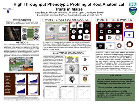High Throughput Phenotypic Profiling of Root Anatomical Traits in Maize Amy Burton, Michael Williams, Jonathan Lynch, Kathleen Brown Department of Horticulture,