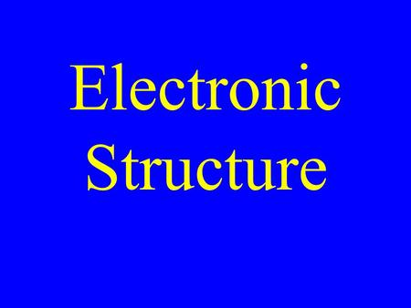 Electronic Structure. Electron Configuration A description of the electrons in an atom.