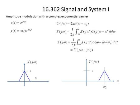 16.362 Signal and System I Amplitude modulation with a complex exponential carrier.