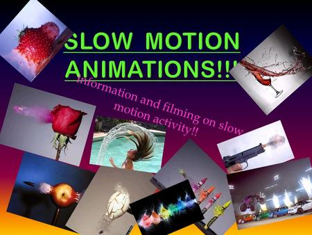 Information and filming on slow motion activity!!.