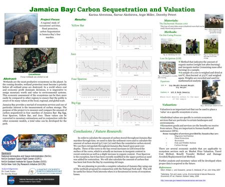 Jamaica Bay: Carbon Sequestration and Valuation Karina Alventosa, Sarvar Akobirova, Argie Miller, Dorothy Peteet On-Site Coring Process: Methods: Acknowledgements: