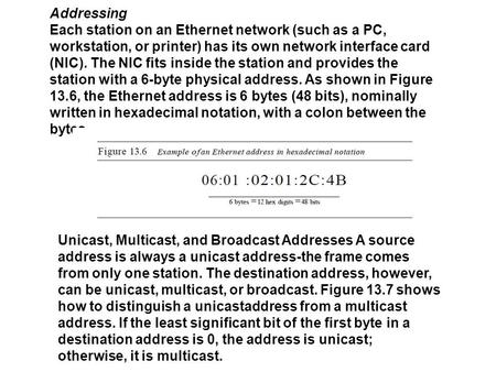 Addressing Each station on an Ethernet network (such as a PC, workstation, or printer) has its own network interface card (NIC). The NIC fits inside the.