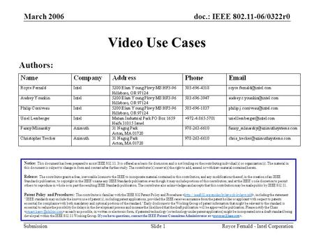Doc.: IEEE 802.11-06/0322r0 Submission March 2006 Royce Fernald - Intel CorporationSlide 1 Video Use Cases Notice: This document has been prepared to assist.