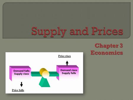 Chapter 3 Economics. SupplySupply amount of goods and services business firms are willing and able to provide at different prices.