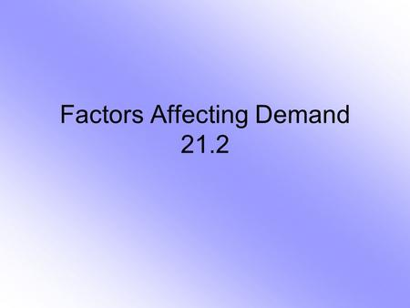 Factors Affecting Demand 21.2