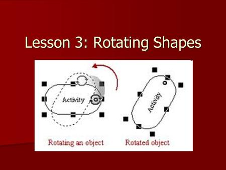 Lesson 3: Rotating Shapes. Some Things to Remember… Visualize how the shape is rotating Visualize how the shape is rotating What is a 90° turn? What is.