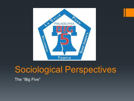 "Sociological Perspectives The ""Big Five"". Auguste Comte  Considered to be the founder of sociology and coined the term  Focused on social order and."