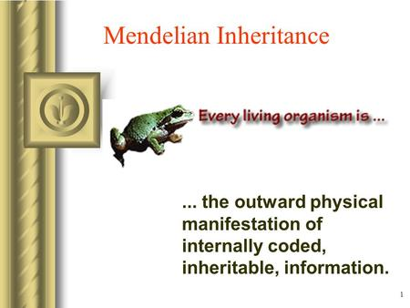 1 Mendelian Inheritance... the outward physical manifestation of internally coded, inheritable, information.