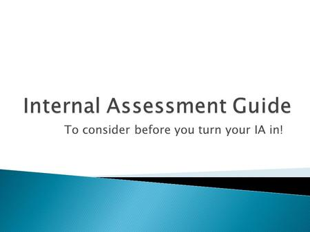 ib internal assessment guide